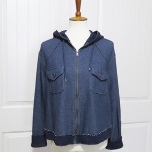 New Free People Navy Hooded Knit Jacket Size Small